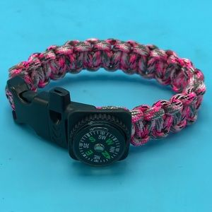 Jewelry - Survival Paracord Bracelet Pink Camo w/ Compass